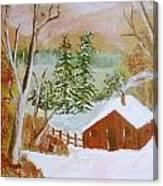 Ski Cabin Canvas Print