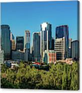 Skylines In A City, Bow River, Calgary Canvas Print