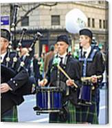 Some Bagpipers Marching In The 2009 New York St. Patrick Day Parade Canvas Print