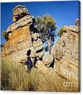 Split Rocks With Woman Canvas Print