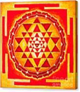 Sri Yantra For Meditation Painted Canvas Print