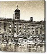 St Katherine's Dock London Sketch Canvas Print