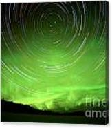 Star Trails And Northern Lights In Night Sky Canvas Print