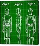Star Wars C-3po Patent 1979 - Green Canvas Print