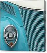 Street Car  Blue Grill With Headlight Canvas Print