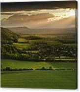 Stunning Summer Sunset Over Countryside Escarpment Landscape Canvas Print