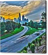 Sun Setting Over Charlotte North Carolina A Major Metropolitan C Canvas Print