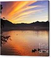 Sunrise Over An Alpine Lake Canvas Print