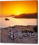 Sunset At Poseidon Temple Canvas Print
