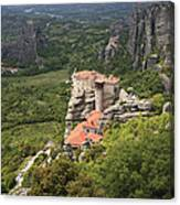 The Holy Monastery Of Rousanou Meteora Greece  Canvas Print
