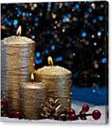 Three Gold Candles In Snow  Canvas Print