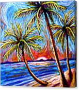 Three Palms On The Beach Canvas Print