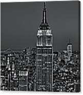Top Of The Rock Bw Canvas Print