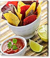 Tortilla Chips And Salsa Canvas Print