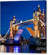 Tower Bridge In London Uk At Night Canvas Print