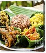 Traditional Vegetarian Curry With Rice In Bali Indonesia Canvas Print