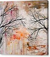 Tree Silhouette Painting Canvas Print