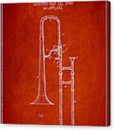 Trombone Patent From 1902 - Red Canvas Print