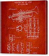 Trumpet Patent From 1939 - Red Canvas Print