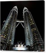 Twin Towers Petronas Kuala Lumpur Malaysia At Night Canvas Print