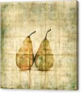 Two Yellow Pears On Folded Linen Canvas Print
