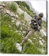 U.s. Army Specialist Walks Canvas Print