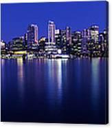 Vancouver Skyline At Night, British Canvas Print