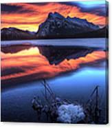 Vermillion Lakes Mount Rundle Canvas Print