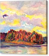 View Of Goat Island From Clackamette Park Canvas Print