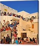 Waiting For The Sunset In Oia Town Canvas Print