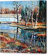 White Covered Bridge Canvas Print