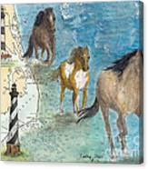 Wild Mustang Horses Outer Banks Lighthouses Nautical Chart Map Art Canvas Print