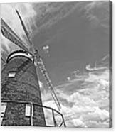 Windmill In The Sky In Black And White Canvas Print
