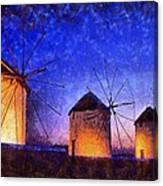 Windmills In Mykonos Island Canvas Print