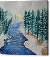 Winter River Scene Canvas Print