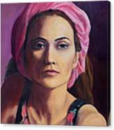 Woman In A Pink Turban Canvas Print