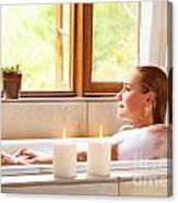Woman Taking Bath Canvas Print