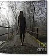 Woman Walking On A Bridge Canvas Print
