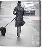 Woman Walking On The Street Canvas Print