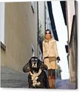 Woman Walking With Her Dog Canvas Print