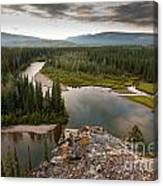 Yukon Canada Taiga Wilderness And Mcquesten River Canvas Print