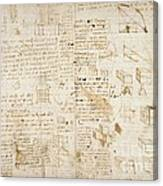 Notes By Leonardo Da Vinci, Codex Arundel Canvas Print