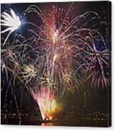 2013 Independence Day Fireworks Display On Portland Oregon Water Canvas Print