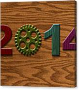 2014 Wooden Gear On Wood Grain Texture Background Canvas Print