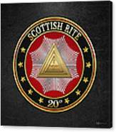 20th Degree - Master Of The Symbolic Lodge Jewel On Black Leather Canvas Print