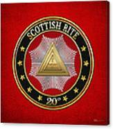 20th Degree - Master Of The Symbolic Lodge Jewel On Red Leather Canvas Print