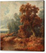 Glimpses Of The Sunby Stream Canvas Print