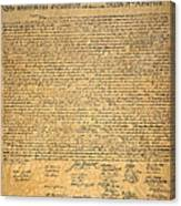 Declaration Of Independence Canvas Print
