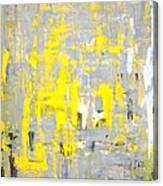 Imagination - Grey And Yellow Abstract Art Painting Canvas Print