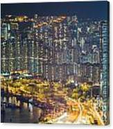 Hong Kong At Night Canvas Print